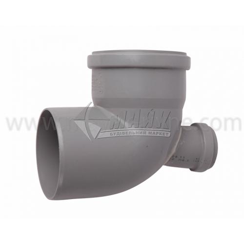 Коліно складне верх ПВХ внутрішня каналізація Profil 87° 110×50 мм сіре