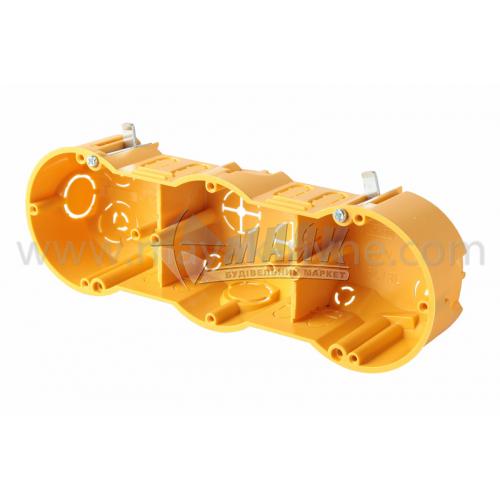 Коробка монтажна Копос 64-50/3L тримісна 70×40 мм для гіпсокартону металеві пелюстки