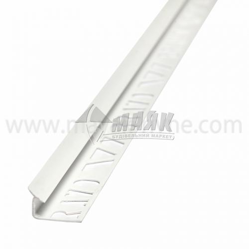 Кутник для облицювальної плитки ПВХ A внутрішній 7 мм 2,5 м білий