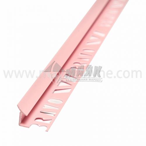 Кутник для облицювальної плитки ПВХ A внутрішній 8 мм 2,5 м 01 рожевий