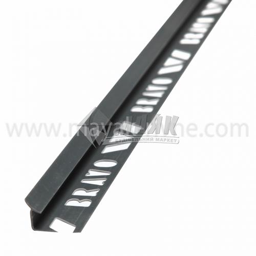 Кутник для облицювальної плитки ПВХ A внутрішній 8 мм 2,5 м 12 темно-сірий