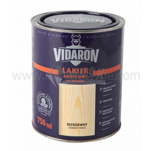Лак для деревини Vidaron Akrylowy акриловий для внутрішніх робіт 750 мл безбарвний шовковистий глянець