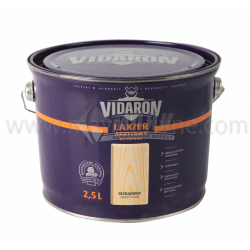 Лак для деревини Vidaron Akrylowy акриловий для внутрішніх робіт 2,5 л безбарвний шовковистий глянець