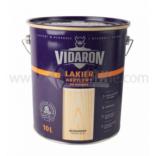 Лак для деревини Vidaron Akrylowy акриловий для внутрішніх робіт 10 л безбарвний шовковистий глянець