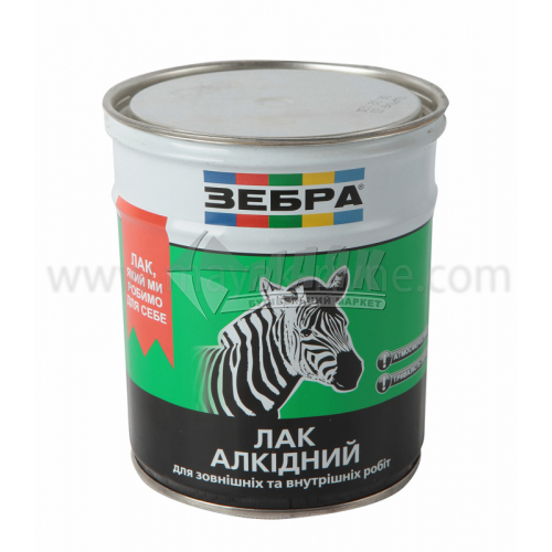 Лак для деревини ZEBRA алкідний для внутрішніх та зовнішніх робіт 0,75 л глянцевий
