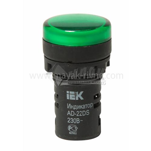 Лампа LED IEK АD22DS 22 мм 230В зелена матриця