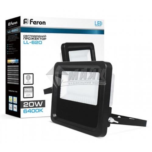 Прожектор світлодіодний Feron LL-620 20Вт 6400°К чорний