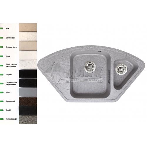Мийка кухонна гранітна трапецієподібна Lavelli Бона з полицею 920×490 мм світлий бежевий