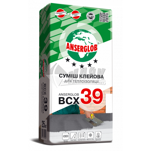 Клей монтажний для систем теплоізоляції Anserglob BCX 39 25 кг
