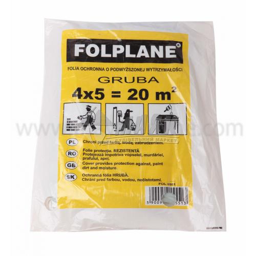 Плівка поліетиленова захисна Folplane Gruba 20 мкм 4×5 м прозора
