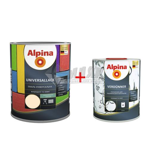 Емаль алкідна ALPINA UNIVERSALLACK 2,5 л слонова кістка шовковисто-матова + Розчинник ALPINA VERDUNNER 0,75 л