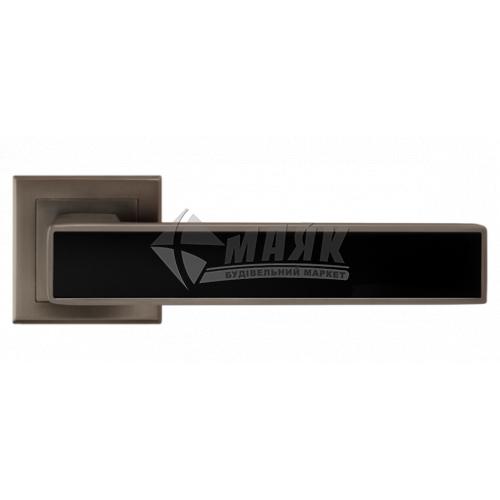 Ручки дверні на розетці LINDE A-2015 MA+black антрацит матовий з чорною вставкою