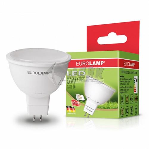 Лампа світлодіодна точкова EUROLAMP 5Вт GU5.3/G5.3 MR16 3000°К (LED-SMD-05533(D))