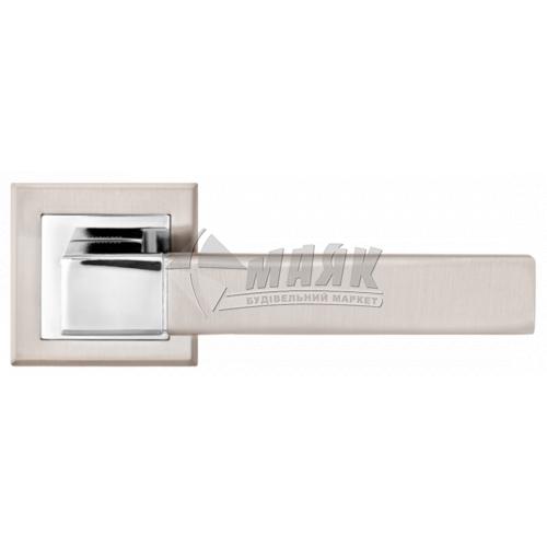 Ручки дверні на розетці LINDE A-2004 SN/CP нікель матовий/хром полірований