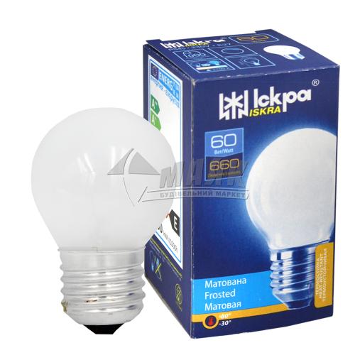 Лампа розжарювання куля Іскра 60Вт Е27 PS45 230В матова (уп. коробка)