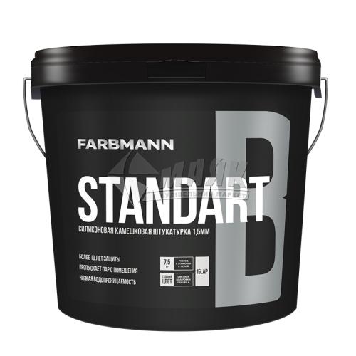 Штукатурка декоративна силіконова Farbmann Standart B Камінцева Баранець зерно 1,5 мм база LC 25 кг прозора