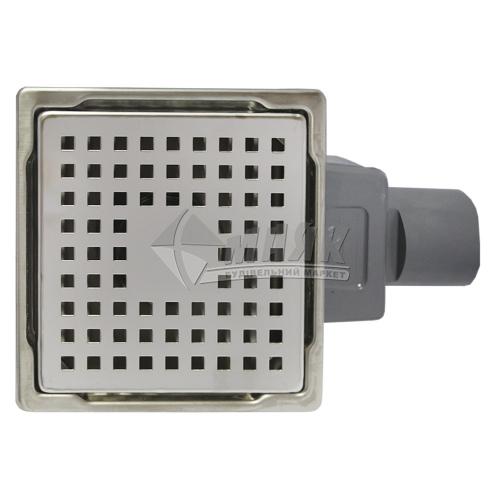 Трап для душу Valtemo Base INOX-S 100×100 мм боковий вивід 50 мм нержавіюча сталь