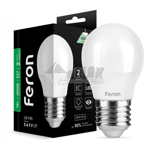 Лампа світлодіодна куля Feron 7Вт Е27 G45/Р45 4000°К (LB-195) 25812