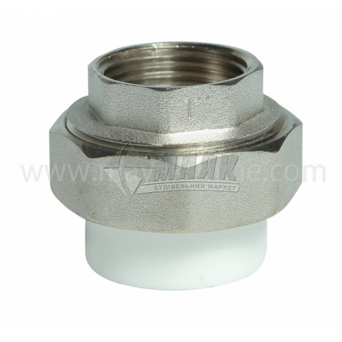 """З'єднувач поліпропіленовий роз'ємний VALTEC 32 мм х 1"""" внутрішня різьба білий"""