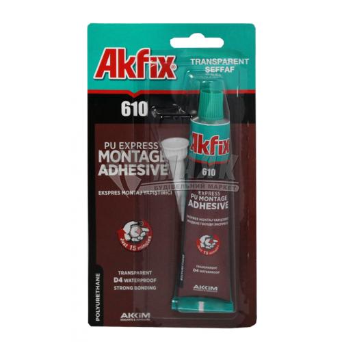 Клей монтажний (рідкі цвяхи) поліуретановий Akfix PU610 експрес-монтаж 50 мл прозорий