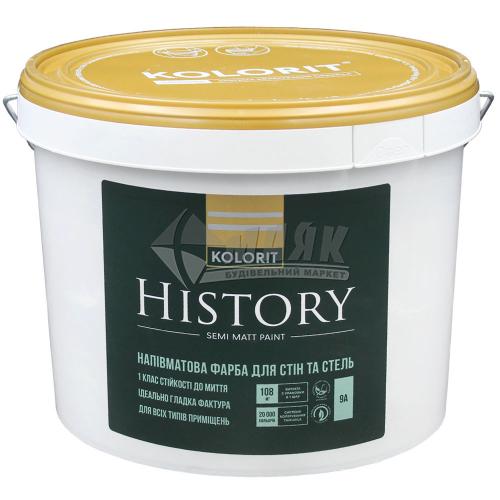Фарба інтер'єрна Kolorit History база А акрилова 9 л біла напівматова