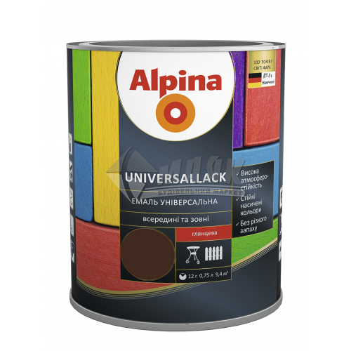 Емаль алкідна ALPINA UNIVERSALLACK 0,75 л темно-коричнева глянцева