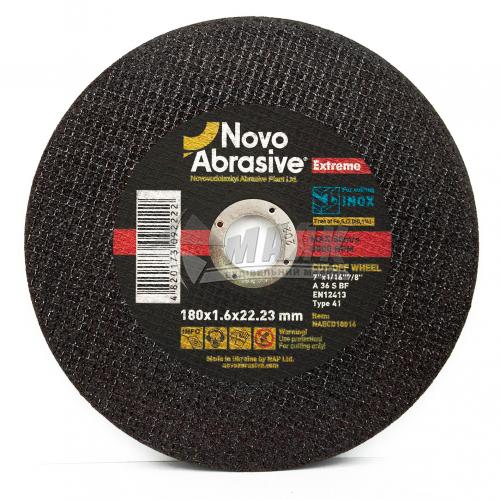 Диск абразивний відрізний по металу Novoabrasive Extreme A36S BF 180×1,6×22,23 мм