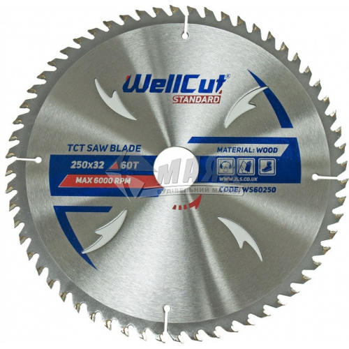 Диск пиляльний WellCut Standard 250×32 мм 60Т