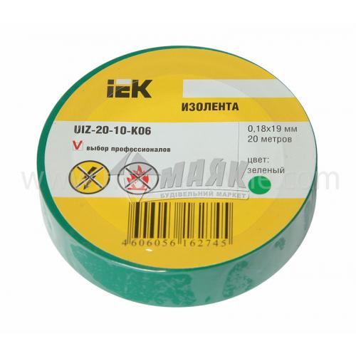 Стрічка ізоляційна IEK ПВХ 19 мм х 20 м зелена