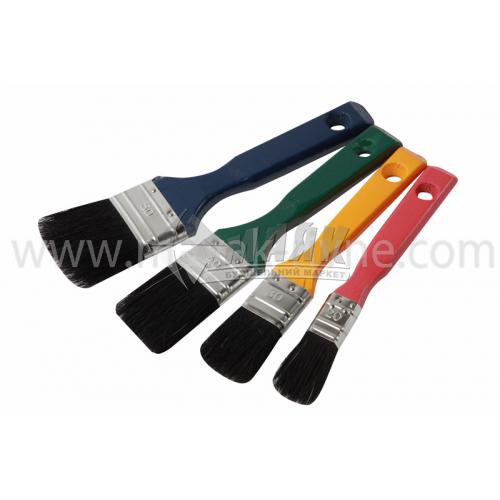 Набір пензлів для лаку плоских 20-30-40-50 мм натуральний чорний ворс дерев'яна ручка 4 шт