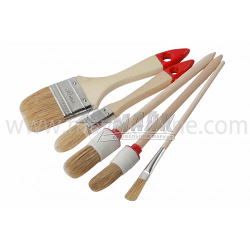 Набір пензлів малярних натуральний ворс дерев'яна ручка 5 шт