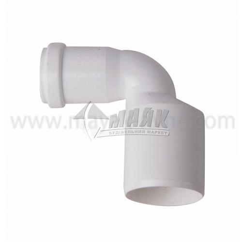 Перехід кутовий ПВХ внутрішня каналізація Інсталпласт 50×32 мм білий
