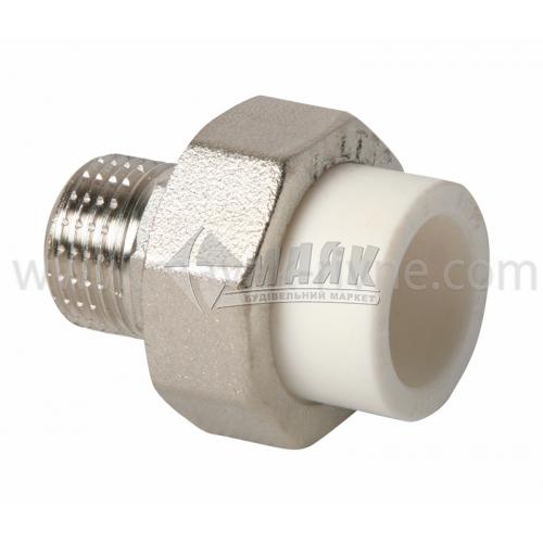 """З'єднувач поліпропіленовий роз'ємний VALTEC 20 мм х 1/2"""" зовнішня різьба білий"""
