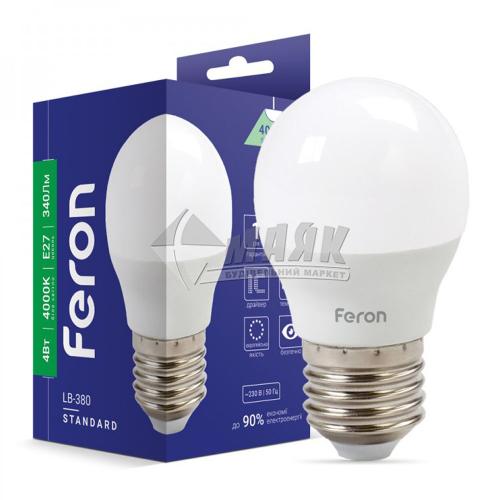 Лампа світлодіодна куля Feron 4Вт Е27 G45/Р45 4000°К (LB-380) 25642