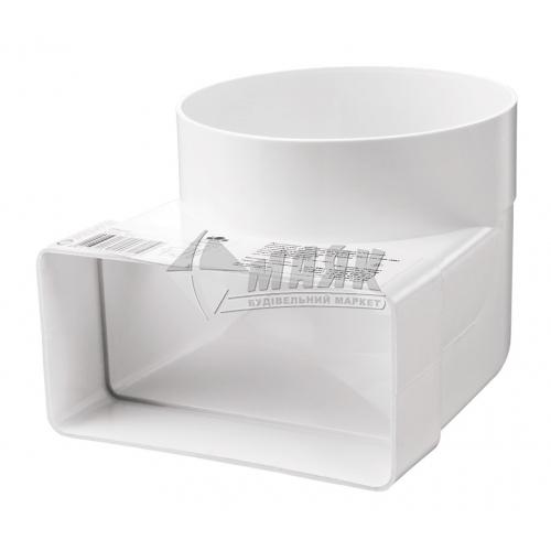 Коліно вентиляційне з'єднувальне VENTS 521 90° 100 мм 110×55 мм