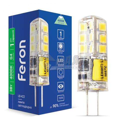 Лампа світлодіодна капсульна Feron 3Вт G4 4000°К 12В (LB-422), 25532