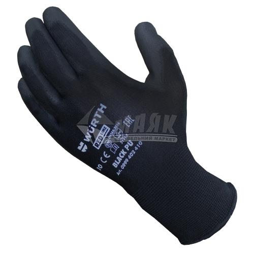 Рукавиці трикотажні робочі захисні WURTH Black PU 0899402410 XL (10) покриття поліуретанове