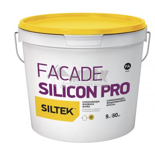 Фарба фасадна преміум-класу Siltek Silicon Pro база FA силіконова 9 л біла