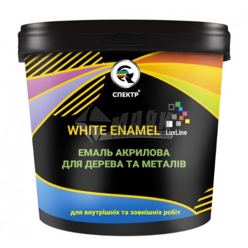 Емаль акрилова для дерева та металу Спектр Lux Line White Enamel База А 2 кг біла глянцева
