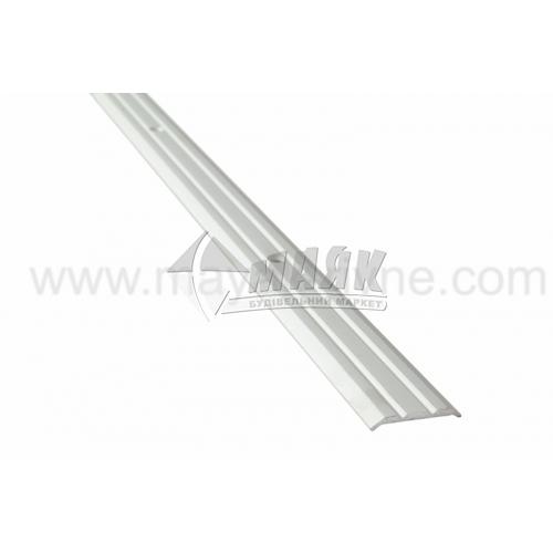 Планка поріжна алюмінієва TIS А025Р рифлена 3×25×1800 мм срібло матове