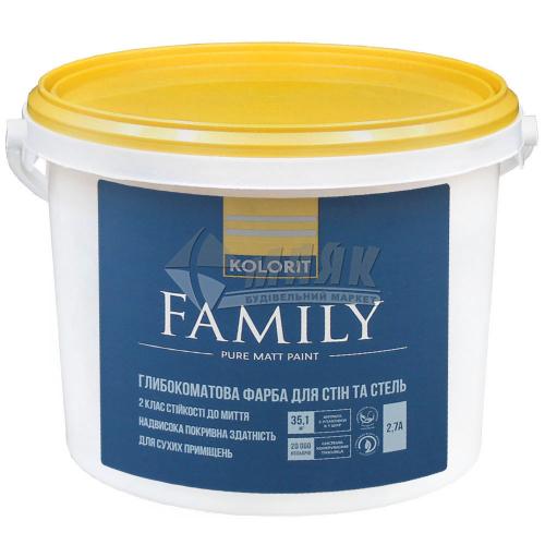 Фарба інтер'єрна Kolorit Family (Interior Premium 3) база А акрилова 2,7 л біла матова