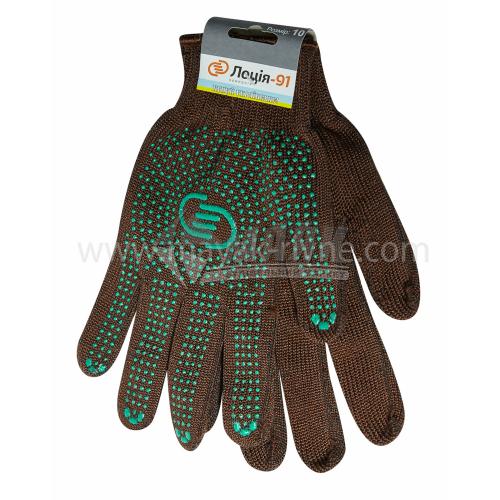 Рукавиці трикотажні робочі Лоція-91 №008 XL (10) покриття ПВХ крапка коричневі