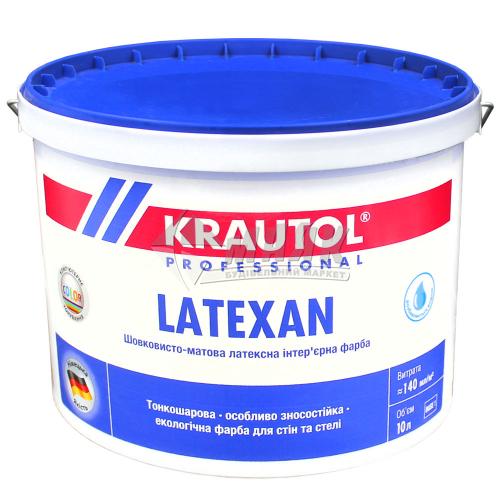 Фарба інтер'єрна KRAUTOL LateXan база 1 латексна 10 л біла шовковисто-матова
