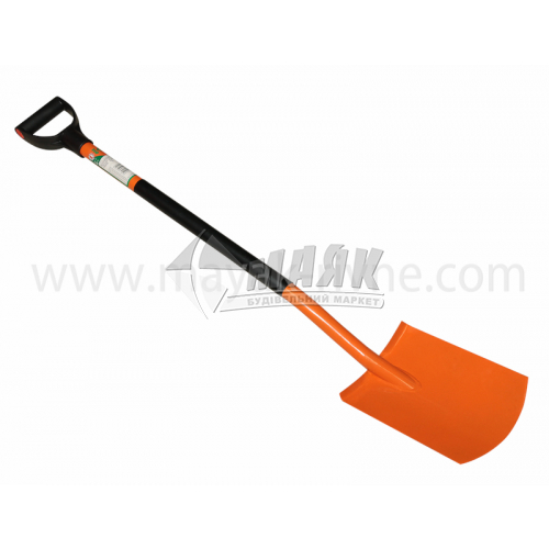Лопата штикова прямокутна 35809 металева ручка помаранчева