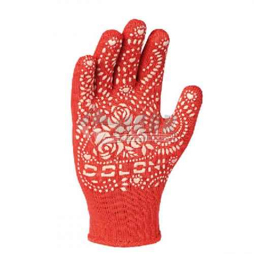 Рукавиці трикотажні робочі Doloni №622 L (9) покриття ПВХ квітка червоні