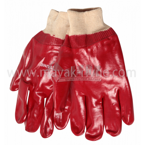 Рукавиці трикотажні робочі Лоція-91 Червоні покриття ПВХ