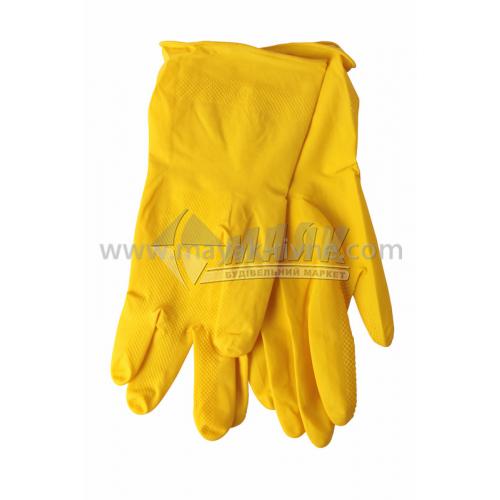 Рукавиці латексні господарські Vist L (9) жовті