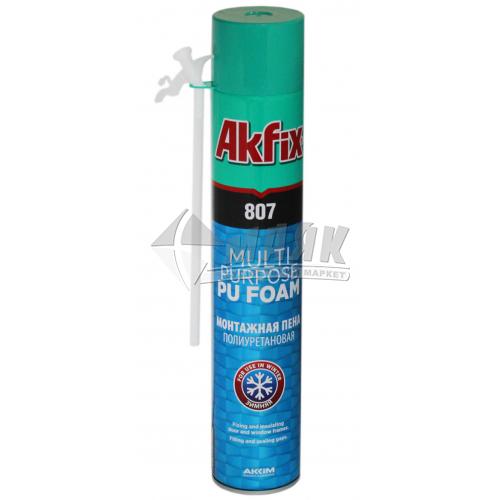Піна монтажна ручна Akfix 807 45 л зимова (всесезонна) 750 мл/850 г