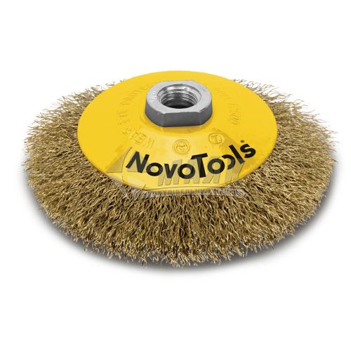 Щітка дротяна конусна NovoTools 115 мм гофрований латунний дріт