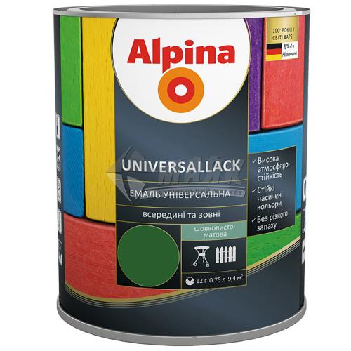 Емаль алкідна ALPINA UNIVERSALLACK 0,75 л зелена шовковисто-матова